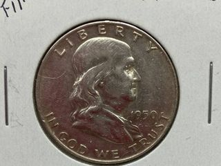 1950 D Ben Franklin Silver Half Dollar