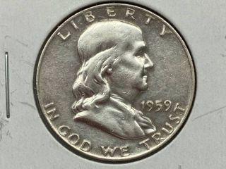 1959 Ben Franklin Silver Half Dollar