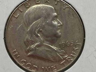 1963 D Ben Franklin Silver Half Dollar