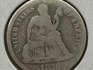 1876 Sitting liberty Silver Dime