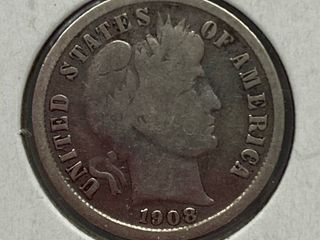 1908 S Barber Silver Dime