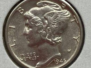 1945 D Mercury Head Silver Dime  75 Years Old