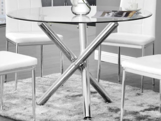 Best Master Furniture Chrome Glass Round Dining Table Retail 398 99