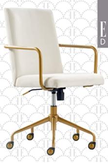 Ellie Decor Bissell gold desk chair light gray