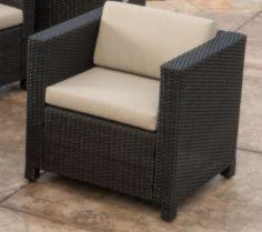 Espresso Wicker Club Chair with Cushion