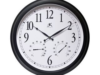 Classic Outdoor large 24 inch Easy Read Black Outdoor Wall Clock with Temperature Humidity  Retail 129 94