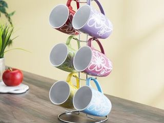6 Piece Mug Set with Stand  Floral
