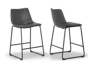 Set of 2 Aden faux leather iron frame Barstool Dark grey