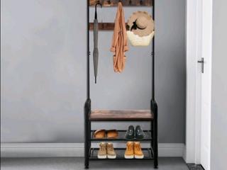 3 in 1 Vintage coat and shoe rack Hall Tree entryway storage shelf