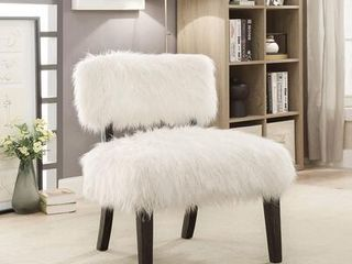 Mystic Sovereign Collection CM AC6548 19  Accent Chair with Fur like Upholstery Tapered legs
