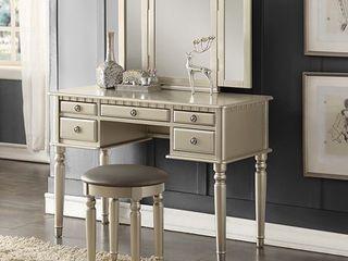Bobkona St  Croix 3 Fold Mirror Vanity Table with Stool Set  Champange