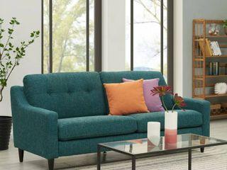 Handy living Regina Blue Tweed Scooped Arm SoFast Sofa