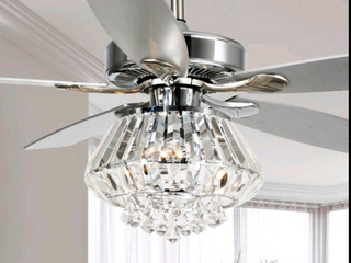 Modern Chrome and Crystal 52 in ceiling fan