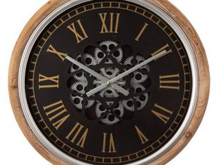 Glitzhome 20 5 D Vintage Industral Firwood Wall Clock with Moving Gears  Retail 98 49