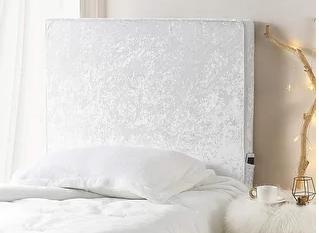 University Transitional Cushioned Dorm Headboard   Ice White  Crushed Velvet