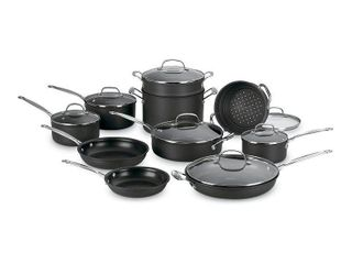 Cuisinart Chef s Classic Nonstick Hard Anodized 17 Piece Cookware Set  Black  Retail 261 49