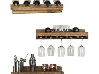 Handmade Del Hutson Designs Rustic luxe Tiered Wine Set   5 Bottle Count Retail 95 99