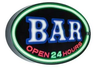 American Art Decor Bar OPEN 24 Hours Oval