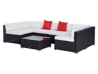 Outsunny 7 piece Outdoor Patio Rattan Wicker Furniture Set   Retail 756 49