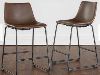 Carbon loft Set of 2 Prusiner Faux leather Barstools