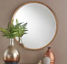Abram Circular Rose Gold Wall Mirror