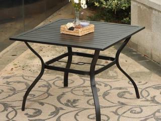 Phi Villa 37  Metal Steel Slat Patio Dining Table Black Retail 192 49