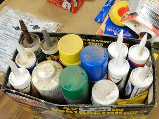 Various tubes of caulking  texture  hairspray  misc