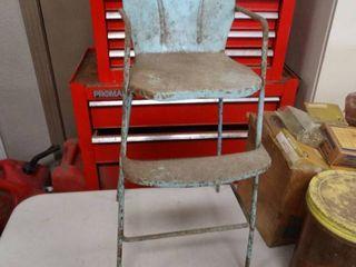 Antique metal doll high chair