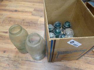 Box of glass insulators   2 old jars