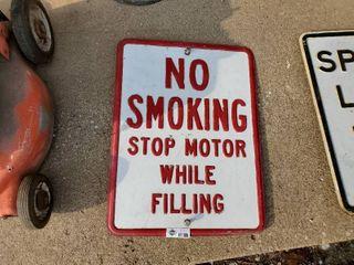 Vintage Metal Embossed  No Smoking Sign