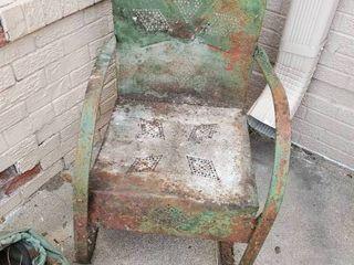 Rustic Metal Green Arm Chair