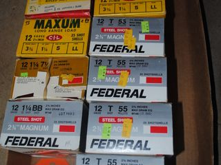 12 ga. Shotgun shells, 11 boxes, Federal & Maxum