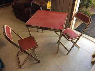 Stool, folding chairs & card table