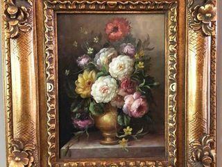 J  Scheidle Framed Flower Painting