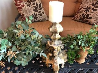 Candlestick and 2 Faux Plants
