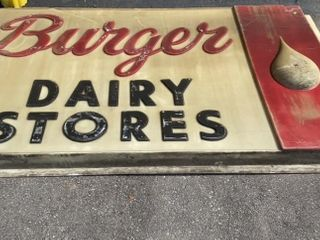 Burger Dairy Store Plastic Insert Sign Damage