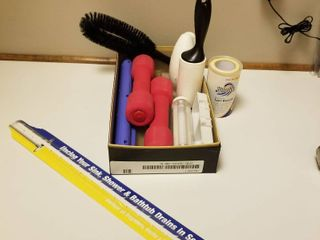 Hand weights  lint roller and brush