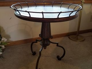 Iron   wood side table 23 x 21
