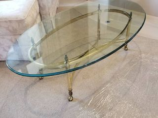 Brass   glass coffee table 16 x 50 x 28