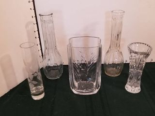 Glass vases set of 5