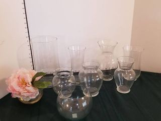Glass vases set of 9