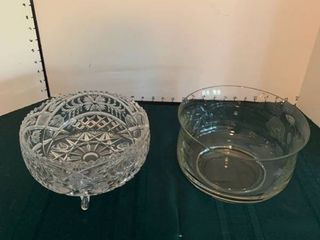 Set of two glass bowls