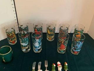 Assorted Christmas glasses and cheese knife set