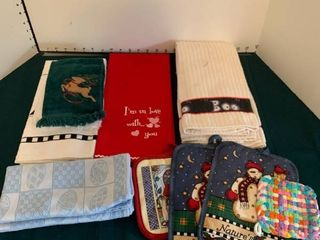 Assorted hand towels and potholders