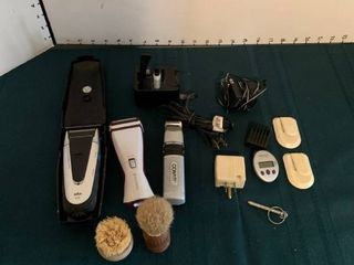 Assorted shavers  shaving equipment and other bathroom items
