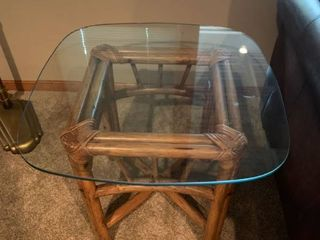 Glass and rattan side table
