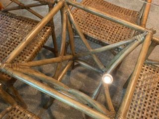 Glass and Rattan table with four chairs