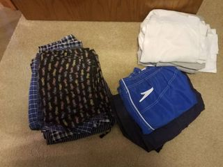 Men s robe  pajamas  thermals and shorts size small and medium