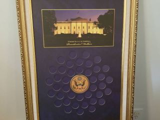 Framed for USA Presidential half dollar 26 x 19
