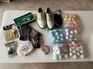 Golf shoes size 6 ladies  Golf balls  gloves  golf ball monogrammer and other supplies